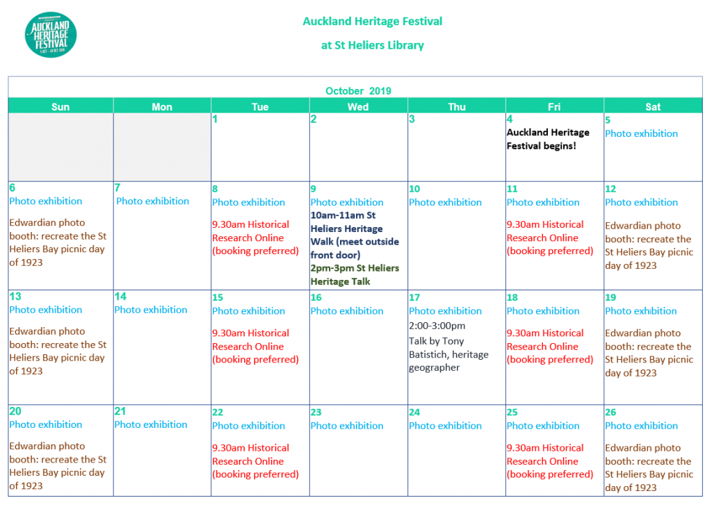 Auckland Heritage Festival Events at St Heliers Library